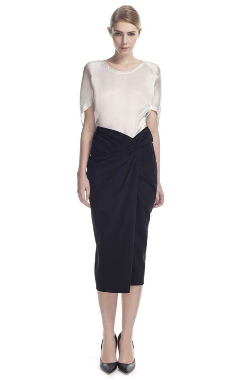 draped skirt donna karan new york sarong knot draped skirt in black lyst