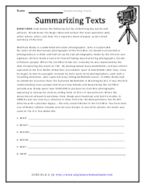 summarizing text worksheets