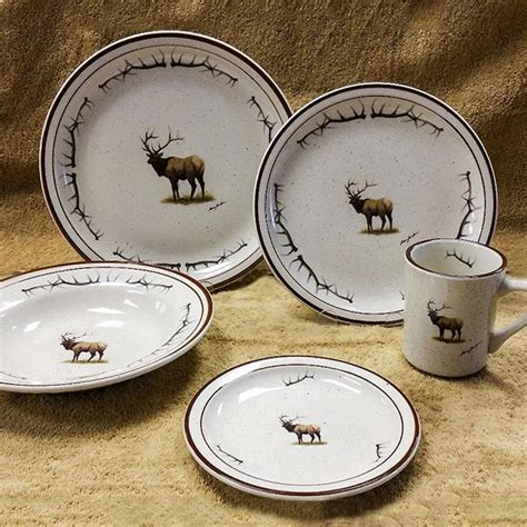 wildlife series elk antler  pc dinnerware cabin place