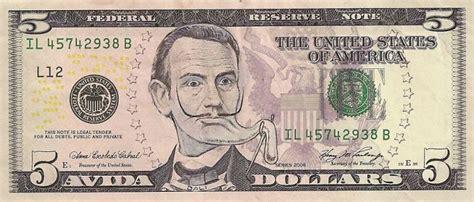 dollar bills turned  portraits  american icons