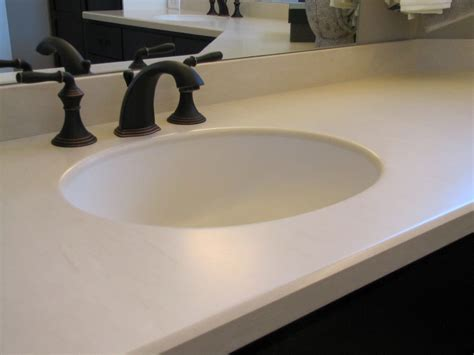 dupont corian 174 ecru this bathroom countertop is made