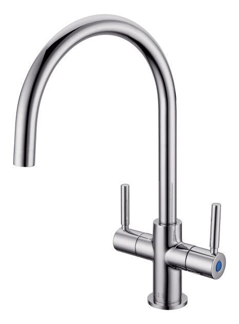 ELO0013 TWIN LEVER MONOBLOCK TAP BRUSHED   Northern Sink