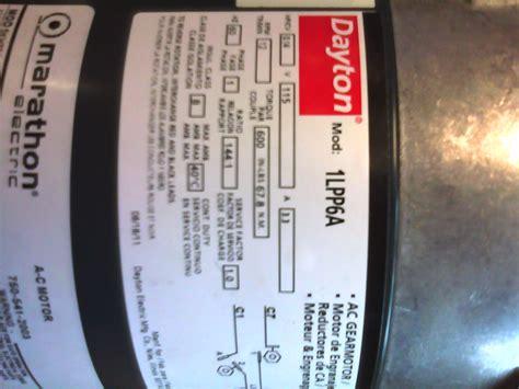 bought  dayton gear motor  replace  motor