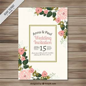wedding invitation with pretty floral details vector With wedding invitations templates freepik