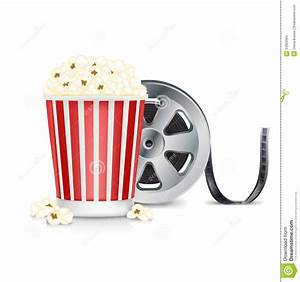 Film Reel And Popcorn Isolated On White Stock Photo ...