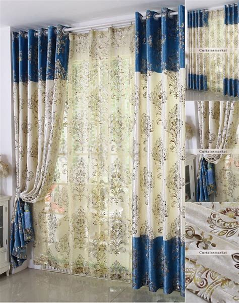 unique curtains and drapes in blue of typical european style