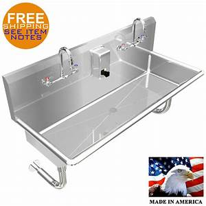 Multiusers 2 Person Hand Sink Basin 40 U0026quot  Manual Faucet
