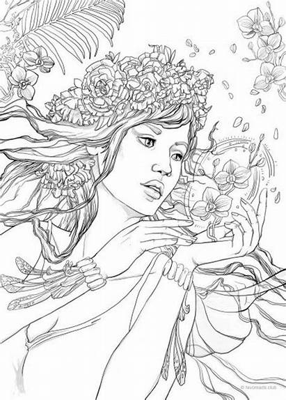 Coloring Pages Fantasy Printable Adult Adults Favoreads