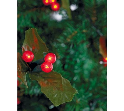 60 holly and berry led christmas tree lights red indoor