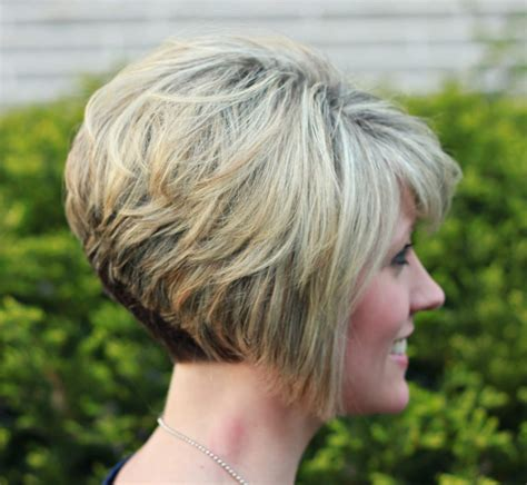 a line stacked haircuts front and back views