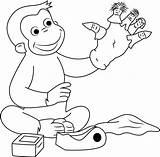 Curious George Puppets Coloring Puppet Pages Game Fingers Playing Finger Georges Hand Coloringpages101 Cartoon sketch template