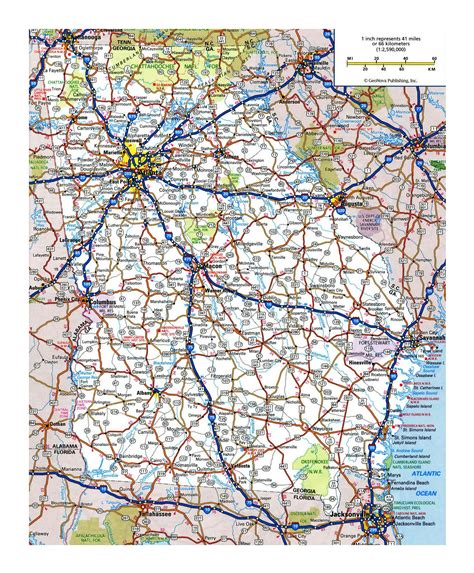 Laminated Map Large Detailed Roads And Highways Map Of