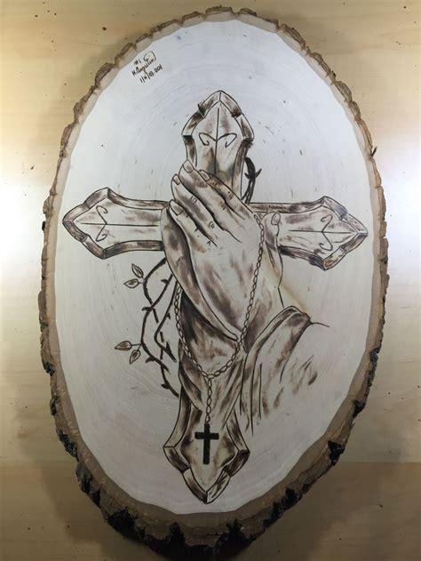 praying cross hand wood burn wood burning art wood