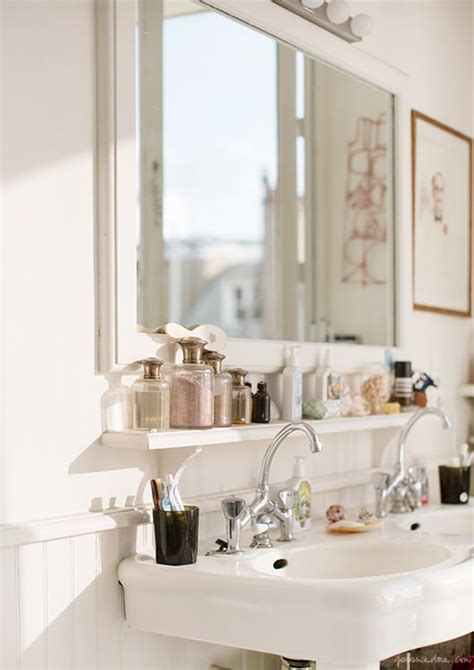 small bathroom  wall shelves storage ideas apartment