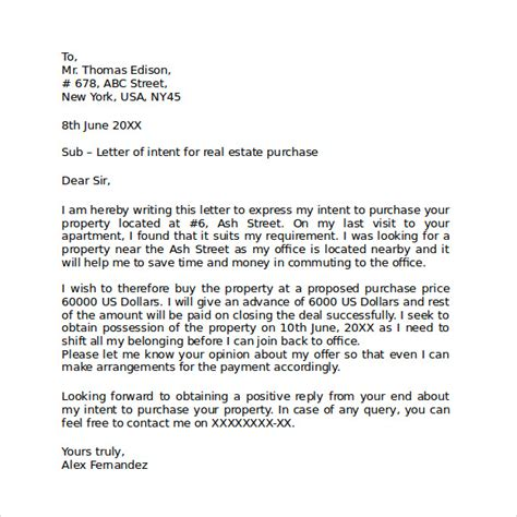 letter of intent real estate 10 letter of intent real estate templates to 7876