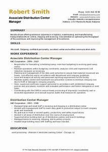 Warehouse Distribution Resume Distribution Center Manager Resume Samples Qwikresume