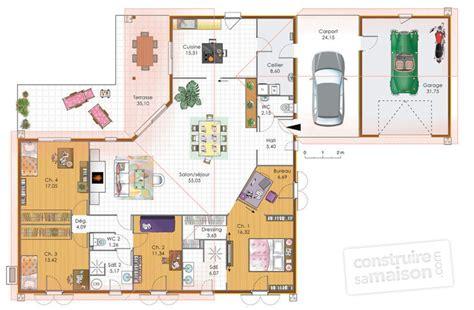plan maison 3 chambres 1 bureau grande maison de plain pied dé du plan de grande