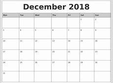 December 2018 Monthly Calendar Printable