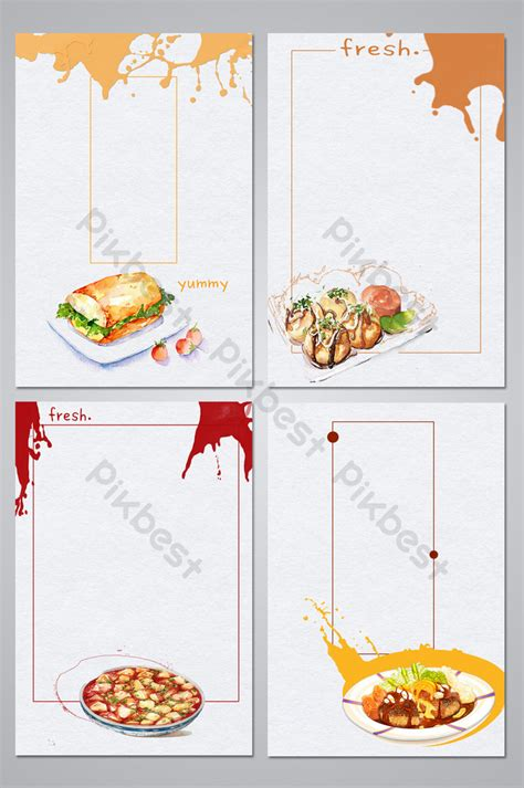 food restaurant hand drawn illustration poster background