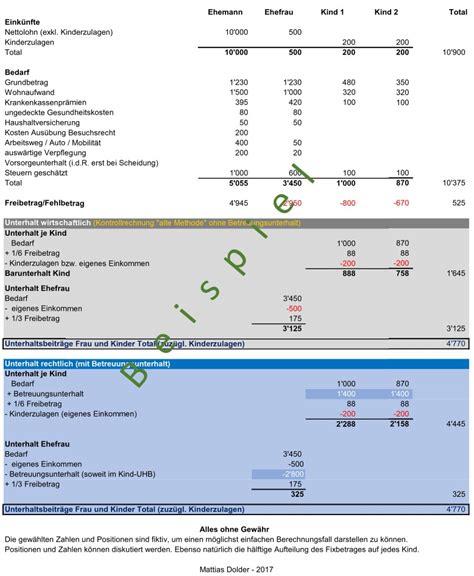 betreuungsunterhalt berechnen  sseldorfer tabelle