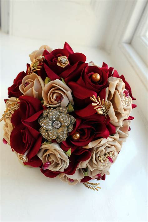 burgundy  gold bouquet silk  foam flowers ideal      clumsy   catc