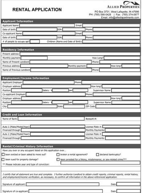 house rental application form ontario printable sle rental application form pdf form real