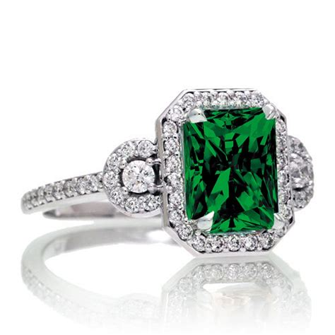 carat emerald cut  stone emerald halo diamond ring   white gold jeenjewels