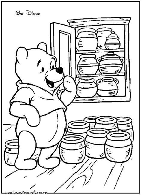 coloriages winnie l ourson par walt disney winnie et les pots de miel a imprimer