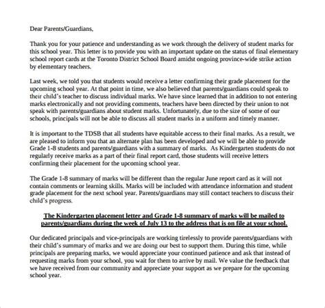 letter  parents sample  documents
