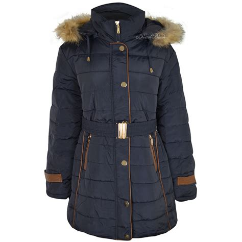 ladies womens  size fur hooded winter coat quilted