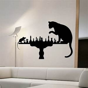 Cat Playing Chess With Mouse Wall Stickers Home Decor ...