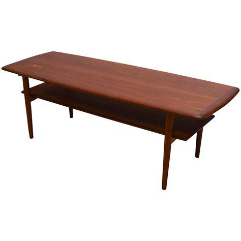 teak coffee table danish modern teak coffee table with shelf at 1stdibs