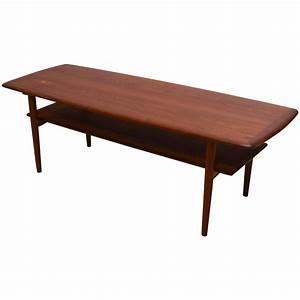 danish modern teak coffee table with shelf at 1stdibs With modern scandinavian coffee tables