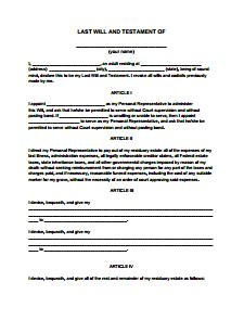 Simple Will Template Last Will And Testament Form Free Create Edit