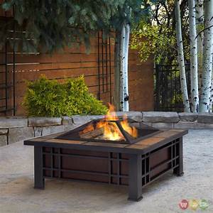 Morrison, Outdoor, 34, U0026quot, Square, Fire, Pit, In, Black, With, Natural, Slate, Top