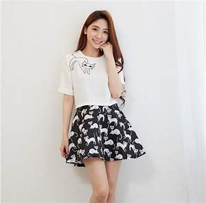 Aliexpress.com  Buy Spring Summer Fashion Womenu0026#39;s Elegant Casual Skirt and Tops Two Piece Cat ...