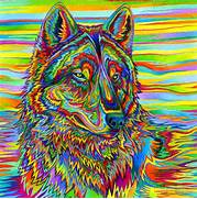Wolves  Rainbow art and Art on Pinterest  Colorful Wolf Painting