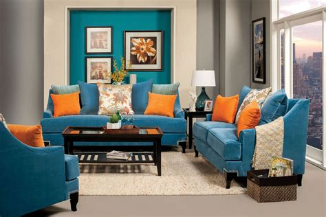 vincenzo peacock blue living room set  furniture
