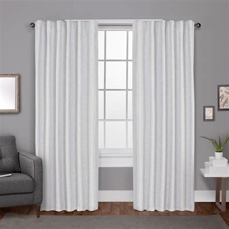 Back Tab Drapes by Zeus Winter White Solid Textured Jacquard Blackout Back