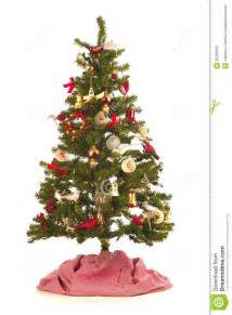 tree with festive decorations antique and new on white background with a and