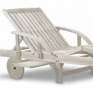 Bain De Soleil En Bois : bain de soleil pliable haut de gamme en acacia blanc antique ~ Teatrodelosmanantiales.com Idées de Décoration