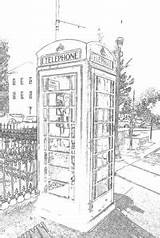 Coloring Phone Booth Oxford Pdf sketch template