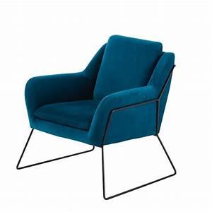 Maison Du Monde Sessel : fauteuil en velours bleu nuit jasper maisons du monde ~ Watch28wear.com Haus und Dekorationen