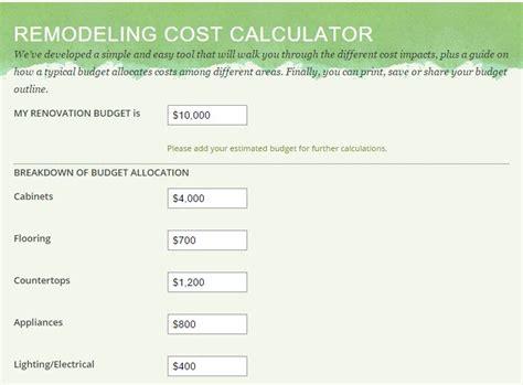 Kitchen Remodel Estimate Calculator by Kitchen Remodel Cost Estimator Calculator Dandk Organizer