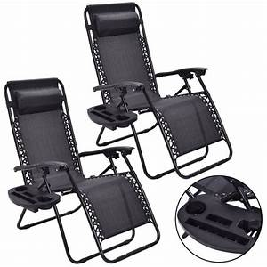 Costway, 2pc, Zero, Gravity, Chairs, Lounge, Patio, Folding, Recliner, Outdoor, Black, W, Cup, Holder