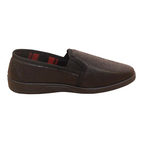 dunlop mens soft faux leather slip  house slippers shoes
