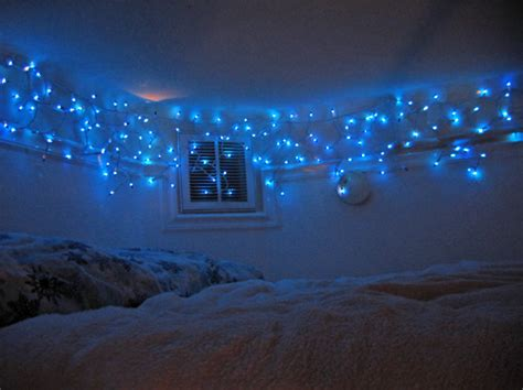 bed bedroom blue lights christmas icicle icycle