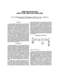 CDC - Mining - Mine Fire Detection Under Zero Airflow
