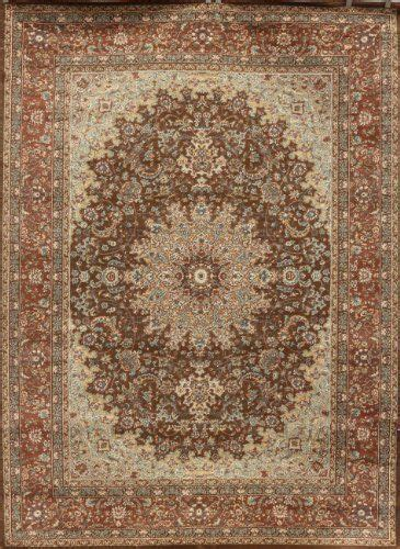 Chocolate Brown Traditional Isfahan Wool Persian Area Rugs