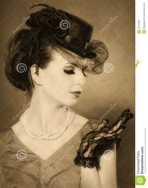 Vintage Styled Portrait Of A Beautiful Women Royalty Free